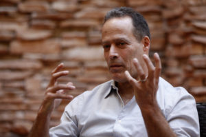 "Director and journalist Sebastian Junger talks about the film ""Which Way Is The Front Line From Here? The Life and Time of Tim Hetherington"" during the Sundance Film Festival in Park City, Utah, January 21, 2013. REUTERS/Jim Urquhart (UNITED STATES - Tags: ENTERTAINMENT MEDIA) - RTR3CRI8"
